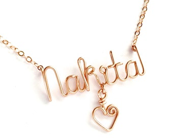 Personalized Rose Gold Name Necklace with heart. Custom Rose Gold Name Necklace with heart charm.