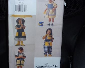 Vogue 9049 Girl's Dress, Top, Jumper, Overalls Size 5,6,6X  Uncut New