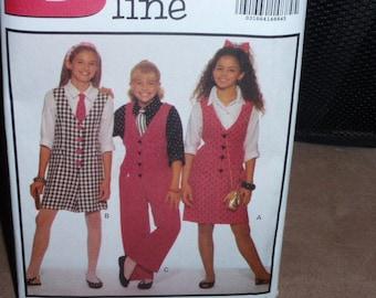 Butterick 6500 Vintage Girls' Jumper, Jumpsuit, Shirt & Tie   Size 7-8-10  New - Uncut