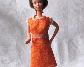 Barbie Clothes Orange Calico Dress with Lace Trim and Polka Dot Trim