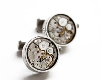 Silver Steampunk Cuff links - Reserved for Bing - Silver Cufflinks , Round Cufflinks , Minimalist Cufflinks , Mens Style , Mens Accessories
