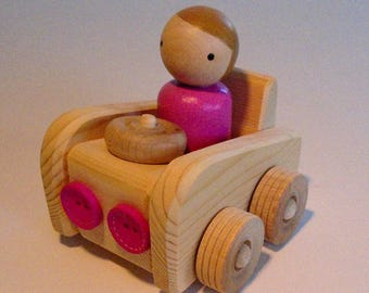 Wooden Toy, Small Wood Peg Doll Car, Peg People Wooden Play Vehicle, Simple Toy, Waldorf inspired, Kids Birthday gift, Jacobs Wooden Toys