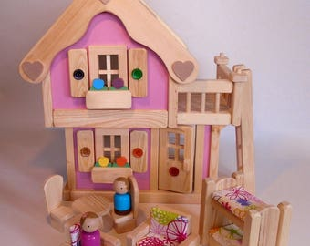 Wooden Toy Peg Doll House, Natural Wood Toy Dollhouse Furniture, Handmade Kids Gift, Waldorf inspired, Jacobs Wooden Toys 'PINK BLOSSOM'