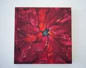 Alcohol Ink Painting - Abstract art - Alcohol Ink Art - Original Art -  OOAK - Red Rose Floral - 8x8