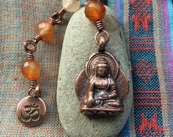 The Loving Kindness Mala in Copper and Carnelian. A Fundraiser for Alzheimers Research