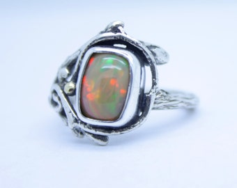 Fire Opal Ring, Ethiopian opal ring, woodland swirl, branch band, twig ring, gold dewdrops, rare opal, opal engagement, branch engagement