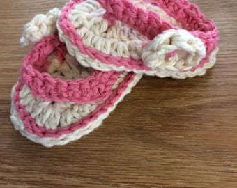 """Pink and white Cotton Flip Flop Sandals 3 1/2"""" long"""