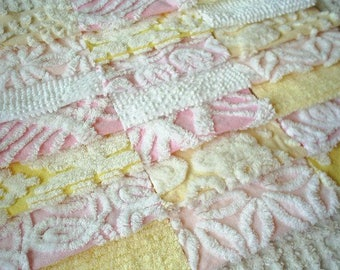 Vintage Chenille Bedspread Squares -Pretty Pink and Yellow-21-6""