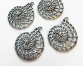 Shell Charms, Chambered Nautilus Charms, Antiqued Silver, Destash