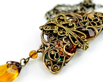 Vintage Amber N Emerald Glass Jewels In Brass Filigree Cage Necklace
