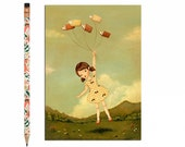 Book Lover Postcard, Bookworm Card, Reading, Pale Red, Yellow, Cream, Children's Art, Girl, Flying, Cute, Book Lover, Bookworm, Story