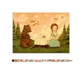 Bear Postcard, Bear Card, Hedgehog, Animal Art, Cute, Girl, Picnic, Tea Time, Woodland, Forest, Woods, Pink