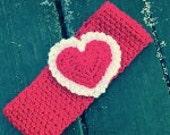 Valentines Day Heart Headband Earwarmer READY MADE