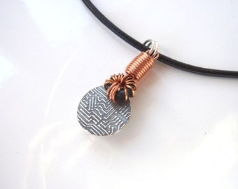 Mens Geek Necklace, Pure Silver, Copper and Leather, a Special Piece