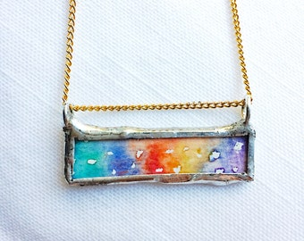 Rainbow watercolor pendant necklace illustration