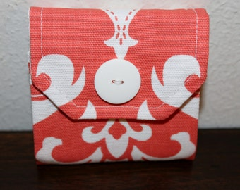 Sticky Note Holder-Coral and White