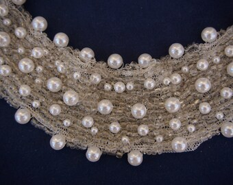 Hand Crafted Clear Glass Beaded Faux Pearl Wedding HeadBand or Necklace