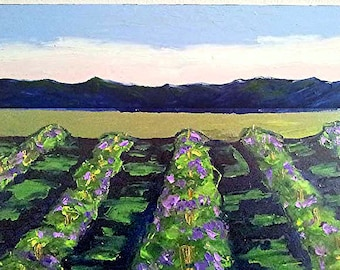 BIG 30x40 Impressionist VINEYARD Painting CALIFORNIA Plein Air Landscape Winery Grapevines Art Lynne French