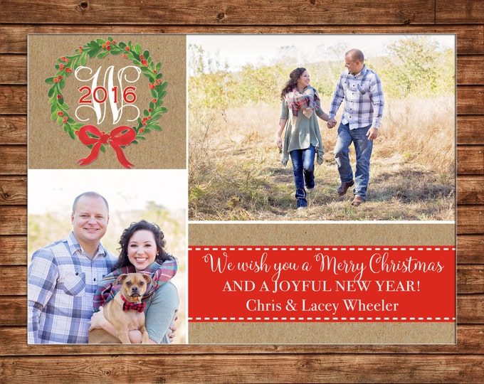 Photo Picture Christmas Holiday Card Watercolor Wreath Burlap Woodland Rustic Gingham - Digital File