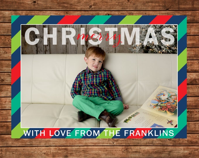 Photo Picture Christmas Whimsical Bright Multi Stripe Red Green Navy - Digital File
