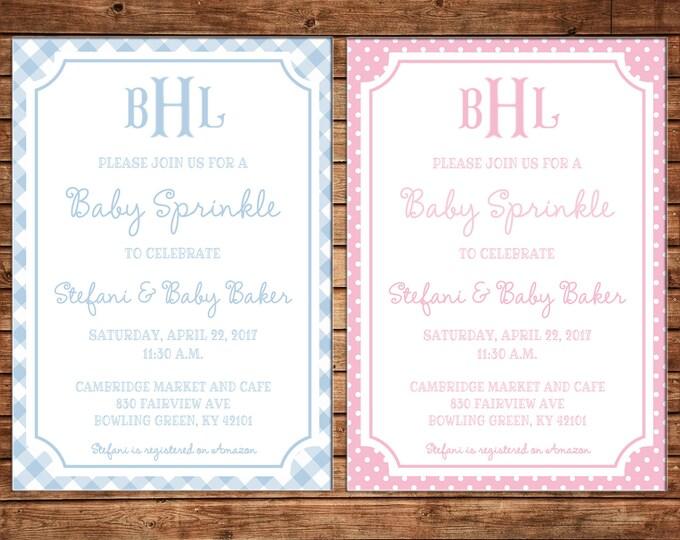 Girl or Boy Monogram Fishtail Gingham Polka Dot Shower Sprinkle Party Birthday Invitation - DIGITAL FILE