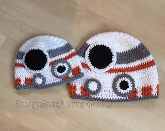 BB8 Inspired Droid STAR WARS Crochet Hat costume BB-8 Force Awakens Newborn Baby Child Adult Sizes