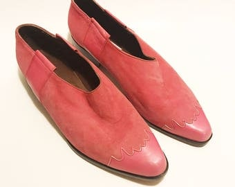Vintage 80s pink GUESS Leather Suede Oxfords 10