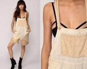 Short Overalls PATCHWORK 90s Grunge Shortalls Woman Cotton Bib Boho Vintage Checkered Print Romper Playsuit Suspender Beige Bohemian Small