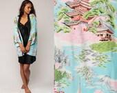 Japanese Kimono Robe Lingerie 90s PAGODA Print Asian Mountain Tree 1990s Bohemian Wrap Vintage Boho Hippie Festival Blue Small Medium Large