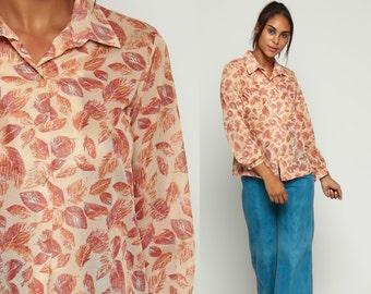 70s Button Up Shirt SHEER Blouse LEAF Print Graphic Secretary Boho 1970s Top Long Sleeve Shirt Vintage Retro Bohemian Red Small Medium