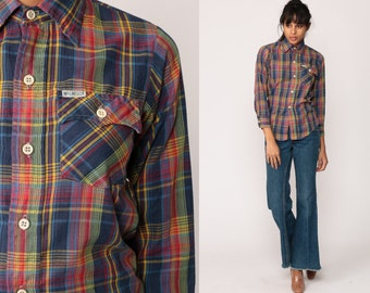 Plaid Shirt 70s Cotton Blue Red Green 1970s Button Down Up Vintage Hipster Checkered Long Sleeve Extra Small xs