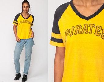 Baseball T Shirt PITTSBURGH PIRATES 80s TShirt Sports Ringer Tee V Neck Retro Graphic Vintage 1980s Striped Tee Yellow Large
