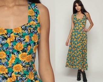 Sundress Strappy Dress Boho CRISS CROSS Back Grunge Maxi 90s Ankle Length Bohemian Vintage Sun Summer Yellow Green Sleeveless Medium