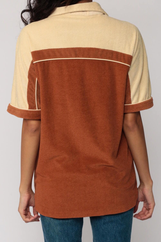 70s shirt terry cloth shirt polo half button up 80s polo t for Terry cloth polo shirt