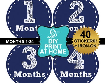 DIY 40 Printable stickers baby month boy instant download Navy milestone stickers Iron on Digital File (No.251)