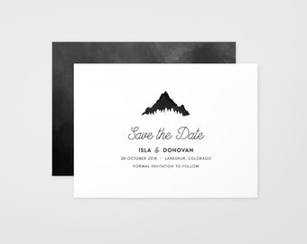 The 'Kendall' Watercolour Mountain Save the Date Announcement (Printable)