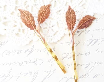 Rose Gold Leaf Branch Bobby Pin Set - Leaf Branch Bobby Pins - Woodland Leaf Hair Pins - Wedding Hair Accessory - Bridal Hair Pins