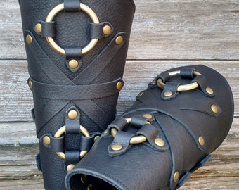 Oiled Black Leather Peaked Bracers or Gauntlets with Antiqued Brass Double Rings and Hardware