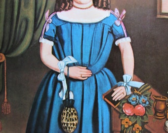 Tea Time/Portrait of a Woman, American Primitive Painting, 1962 Reproduction Book Page, Color Plate, 9.5 x 12 in