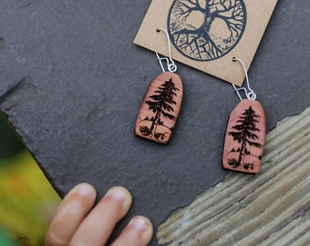 Forest Love Earrings- Aromatherapy Earrings- Sustainable Wood Jewelry- Red Cedar Tree Earrings- Natural Wood Jewelry- Eco Earrings