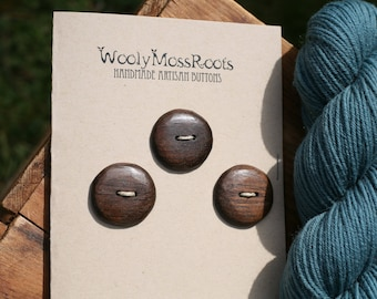 3 Black Walnut Wood Buttons- Black Walnut Wood- Wooden Buttons- Eco Craft Supplies, Eco Knitting Supplies, Eco Sewing Supplies