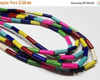 """HOLIDAY SALE 16"""" Gemstone STRAND - Reconstituted Howlite Beads - 4x13mm Tubes - Multi-Colored (16"""" strand - 30 beads) - str571"""