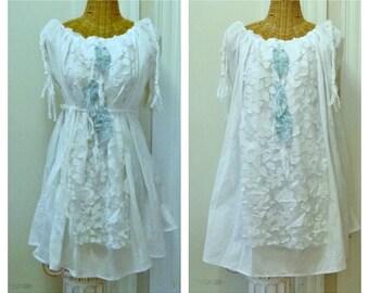 Three Feathers Dreamcatcher Dress Size Large, Up Thru 4X White Oversized Braid Denim Tribal