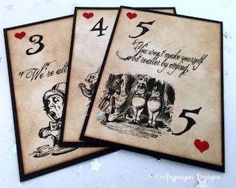 20 Alice in Wonderland Table Number Cards/ Alice in Wonderland Mixed Character Table Marker Cards