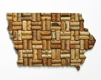 state sign - Iowa wall art - housewarming gift - wine gifts - wine cork art - cork art - state art - wine decoration - going away gift