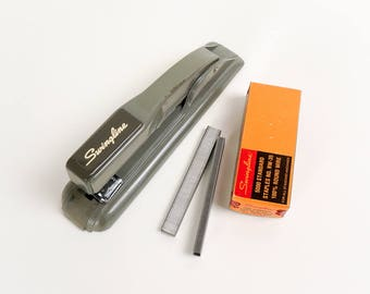 Vintage Swingline Metal Stapler Tacker and Swingline Metal Staples in Box / Industrial Retro Mid Century Office Supply