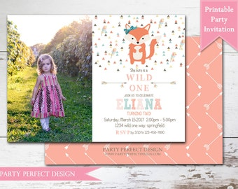 Tribal Fox Girl Birthday Party Invitation Printable with bonus double sided design - Print Your Own