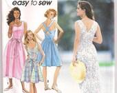 Back Wrap Sundress Simplicity 7812, Summer Dress, Cross Back Straps, Sleeveless Dress, Easy to Sew Pattern 10 12 14 16