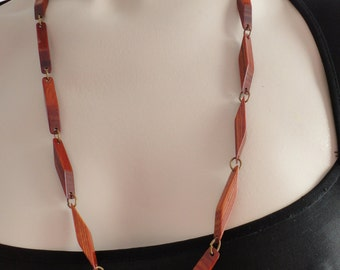60s  Brown Wood Beads Matinee Necklace Vintage