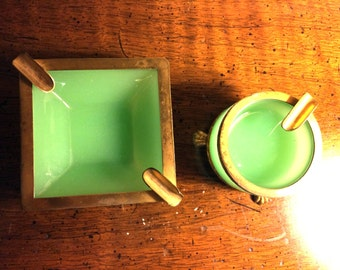 Pair of Opaline French Glass Ashtrays with Gold Feet / Green Opaline Glass Ashtray & Cigarette Holders
